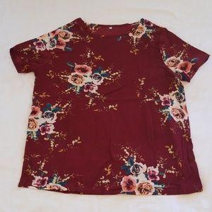 Burgundy flowered shirt